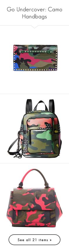 """Go Undercover: Camo Handbags"" by polyvore-editorial ❤ liked on Polyvore featuring camohandbags, bags, handbags, clutches, camouflage handbags, camoflauge purse, leather handbags, leather clutches, real leather purses and shoulder bags"