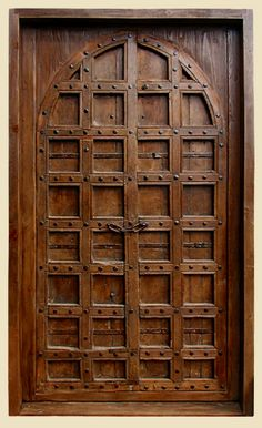 Constructed of Antique Indian Teak Door and Reclaimed Douglas Fir Door Jamb  Features Antique Hardware: Iron Strapping, Clavos & Chain  7132A Lyon