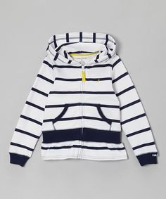 Loving this Nautica Navy Blue Stripe Zip-Up Hoodie - Girls on #zulily! #zulilyfinds