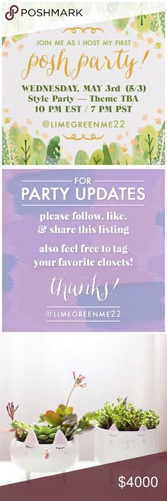 First Listing is Full! Work Week Chic Party (5/3)! 🍋First listing is FULL🍋Hi all! I hope you'll join me as I host my first Posh Party on Wednesday, May 3rd at 10 PM EST (7 PM PST)! I can't wait to look through all your lovely closets for potential host picks! The party theme is WORK WEEK CHIC! Please like this listing, follow, share, & tag some of your favorite posh-compliant closets. I'm especially on the look out for new closets! Thanks so much--can't wait! 💕 Anthropologie Other