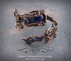 Adams Handcrafted Jewelry. Petite Amethyst Cuff Coil Bracelet Wire wrapped in Copper Patina w/ Swarovski Crystals & Amethyst Beads.