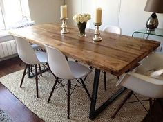 Brilliant Industrial Dining Room Table with Best Industrial Dining Chairs Ideas . Farmhouse Dining Room Table, Dining Room Table Decor, Wooden Dining Tables, Dining Table Design, Decoration Table, Dining Chairs, Rustic Farmhouse, Kitchen Dining, Rustic Wood Dining Table