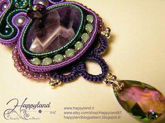 Arcadia earrings Soutache and tatting lace