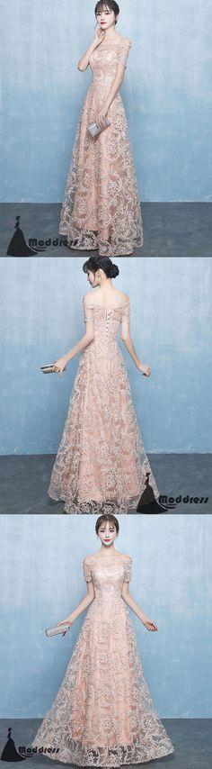 Elegant Lace Long Prom Dress Off the Shoulder Evening Dress A-Line Pink Formal Dress,HS510 #fashion#promdress#eveningdress#promgowns#cocktaildress