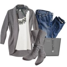 Love it all but the jeans and purse.   With dark grey slacks or a skirt for work.  Skirt would show off the boots, I could get orthotics to put in those boots.