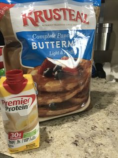 When you love pancakes, but protein is your morning meal; you compromise. Pancak… When you love pancakes, but protein is your morning meal; you compromise. Pancakes with premier protein. Healthy Protein Snacks, Protein Shake Recipes, Protein Foods, Low Carb Recipes, Healthy Eating, Healthy Recipes, High Protein, Protein Power, Drink Recipes