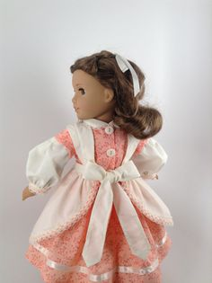 American Girl 18-inch Doll Clothes - Civil War Dress & Apron in Peach/Cream