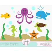 Clip Art Sea Creatures Ocean Fish Seahorse Whale Octopus Starfish graphic to consider purchasing