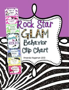 This fun behavior management tool would be a great addition to you Rock Star themed classroom! If you are not familiar with clip charts, they are . Star Themed Classroom, Stars Classroom, Classroom Labels, 4th Grade Classroom, Music Classroom, Classroom Themes, Classroom Organization, Book Basket Labels, School Themes
