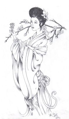 geisha sketch drawing deviantart japanese drawings coloring tattoo books easy simple adult og traditional pages nl google portraits