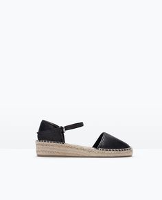 LEATHER ESPADRILLE SHOES WITH ANKLE STRAP
