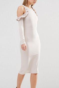 Women Beige Ruffle Trim Long Sleeve Sexy Bodycon Dress - S Dress P, Dress Outfits, Fashion Dresses, Fashion Tips For Girls, Black Bodycon Dress, Ruffle Trim, Ladies Dress Design, Dress Brands, Ideias Fashion