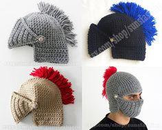 I'm a fan. Knight Helmet Hat Crochet on Etsy, $39.00