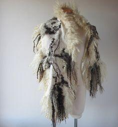 Felted scarf real fur  grey wrap fur scarf Fur stole Grey