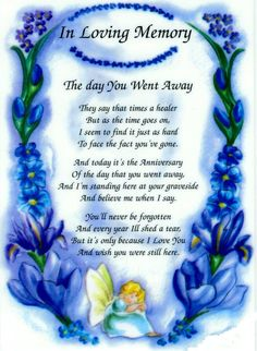 In loving memory, Anniversary of Loved Ones Death.... Grief. Mourning. Loss…
