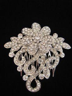 Bridal Filigree Hair Comb Slide Vintage Look Silver Tone & Crystal Diamante Prom