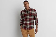 AEO Rugged Flannel Shirt by  American Eagle Outfitters | This ultra-soft flannel is crafted in a heartier weight, and finished with a timeless plaid pattern.  Shop the AEO Rugged Flannel Shirt and check out more at AE.com.