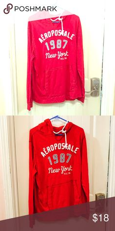 Aeropostale long sleeve Hoodie never worn Aeropostale long sleeve hoodie one wash with flash other not never worn sat in closet great condition it's men's but I wear them also red is color Aeropostale Tops Sweatshirts & Hoodies