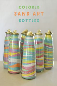 Make sand art bottles using recycled juice bottles and DIY dyed sand from the beach. A no-cost craft for kids! Craft Dye Your Own Sand to Make Sand Art Bottles! Sand Art For Kids, Beach Crafts For Kids, Sand Crafts, Seashell Crafts, Summer Crafts, Crafts For Teens, Projects For Kids, Art Projects, Kids Diy