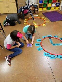 Guided Math: The Three P'sguided math lessons, telling time,. Teaching Time, Teaching Math, Teaching Strategies, Teaching Spanish, Math Classroom, Kindergarten Math, Math Resources, Math Activities, Movement Activities