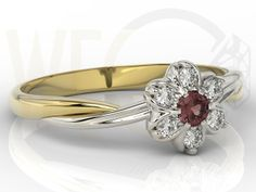 Pierścionek  z żółtego i białego złota z granatem i brylantami  /  Ring made from yellow and white gold with ruby and diamonds / 1414 PLN #jewellery #jewelry #gold #ring