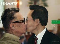 "United Colors of Benetton ""Unhate"" ad campaign. North Korea's Kim Jong-il kissing South Korea's Lee Myung-bak. President Of South Korea, Korean President, Usa President, Kim Jong Il, Barack Obama, Creative Advertising, Advertising Campaign, Political Leaders, Politics"
