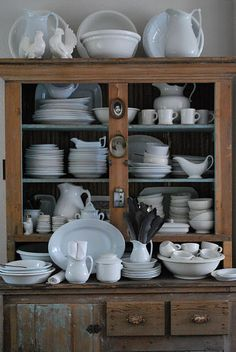 Barn House- china cabinet with assortment of white dishes- I absolutely adore this Vintage Dishes, Vintage Kitchen, Vintage Hutch, Dish Display, Hutch Display, Plate Display, Sweet Home, White Dishes, White Pitchers