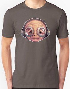 This Star Wars t-shirt just shows the face of Maz Kanata and yes she is wearing her glasses which makes it looks a bit funny to. Maz Kanata, Star Wars Tshirt, Stars, Face, Mens Tops, T Shirt, How To Wear, Supreme T Shirt, Tee Shirt