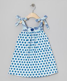 Take a look at this Blue Polka Dot Pippie Dress - Toddler & Girls by Young Colors on #zulily today!