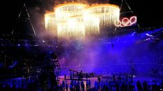 Olympic rings alight during the Olympic Games 2012 Opening Ceremony #Olympics #openingceremony #London2012