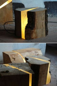 Light Wood Tree Log Floor Lamp: The designer removes a slice of the natural piece of wood and replaces it by a perfectly sculpted resin, incorporating LED light system. Preserving the original shape andtempting to make the light come out from the material and to amplify the sensorial  #Concept #Diylighting #Floorlamp #Handmadelighting #Lamp #Led #Lighting #Lightingdesign #Recycle #Woodlamp #Woodwork #Woodworking