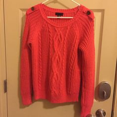 Pre-loved Orange Sweater Size M Worthington Brand from JCP. Absolutely adorable with a vest. This is a used item but still has lots of life left! Worthington Sweaters Crew & Scoop Necks
