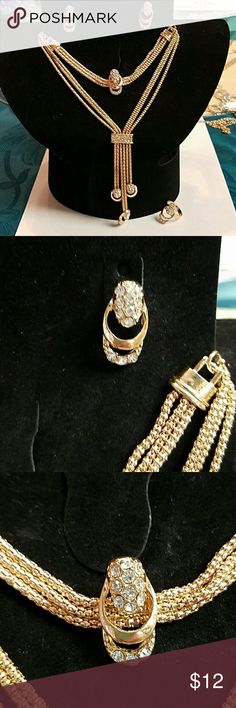 Beautiful jewelry combo choker set Beautiful jewelry combo choker set comes with choker that is 12 inches long with a 2 inch extension period bracelet which is 7 inches with A2 inch extension a set of earrings an adjustable ring Jewelry Necklaces