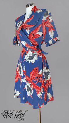 1940's Blue Hawaiian Wrap Swing Dress