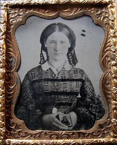 Woman Holding Photo Ambrotype Ninth Plate Size Taken circa 1859
