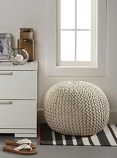 Le pouf méga tricot de coton 40x50 cm - Coussins | Simons