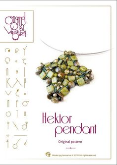 *P beading pattern  Pendant tutorial / pattern Hektor with Tile beads ..PDF instruction for personal use only