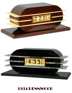 "Clocks - Pennwood  ""Model 7757""     ""Century""    American Art Deco Machine Age Penwood Numechron  Electric Flip Type Clock.     Bakelite Body and Tenite Fins.    (1930)"
