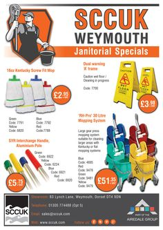 SCCUK supply an extensive range of janitorial and hygiene supplies at very competitive prices.  Open a new customer account at SCCUK and receive 10% OFF you first order.  Pop along to our showrooms at: 83 Lynch lane, Weymouth, Dorset DT4 9DN  FREE delivery in the local area.  Tel: 01305 774488 (Opt 5)