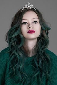 faded dark green ombré hair inspo with crown hair accessory