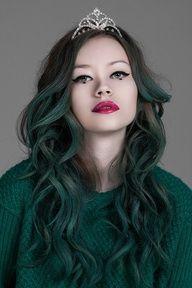 faded dark green hair
