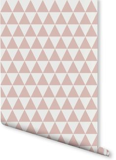 On the lookout for chic wallpaper ideas? This geometric wallpaper pattern is both contemporary and beautiful. Dusty pink triangles contrast with ivory white to give a stunning feature wall.