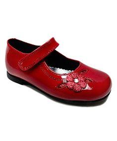 Another great find on #zulily! Red Glitter Flower Lil' Charlene Mary Jane #zulilyfinds