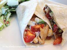 Les plats cuisinés de Esther B: Tortillas au poulet BBQ et crème sure à l'avocat