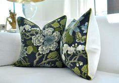 Pillows - Magnolia linen print, by GP & J Baker for Lee Jofa. Pillow Inserts, Pillow Covers, Gp&j Baker, Asian Fabric, Designer Pillow, Dark Backgrounds, White Decor, Beautiful Space, Magnolia
