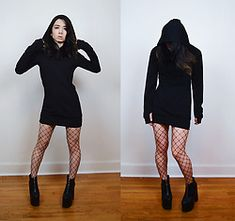 a2ba90724250a Lovely Blasphemy - Chic Me Black Hoodie Sweatershirt Dress, Leg Avenue  Fishnet Tights, Yru Nightmare Platforms - Believe only half of what you see  and ...