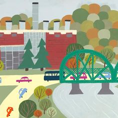 Rossdale / Walterdale - Edmonton Landmark art print, home decor  Edmonton landmark art print with a unique Mid-Century / Folk Art take. A perfect Edmonton gift idea for any city lover or that poor soul that is leaving town. Purchase on www.snowalligator.com  Illustration by local artist Jason Blower  #yeg #yegart #yegwallart #wallart #EdmontonArt #edmontongift #yeggift #snow_aligator #charmingart #cuteart #midCentury #Folkart #cuteart #charmingart #edmontonartist