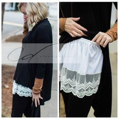 Wardrobe foundation MUST-HAVE! Add style and versatility to your wardrobe with this scalloped lace top extender, that adds length to those short tops and extra