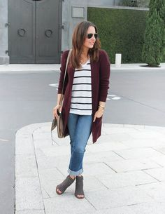 Fall Outfit | Burgundy Long Cardigan | Cuffed Jeans | Lady in Violet | Houston Fashion Blogger