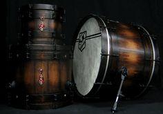 SJC Custom Drums - Alex Shelnutt wood barrel finish drum set